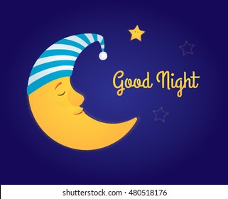 "Vector cartoon illustration. A moon in a white and blue striped nightcap sleeping in the sky, a little star is awake and smiling. Dark blue background, yellow text ""Good night"". Horizontal format."