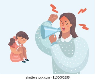 Vector cartoon illustration of Mother angry with her daughter. Woman cry at her with speak-louder. Little girl crying. demanding mother, improper upbringing, psychological problems in the family.