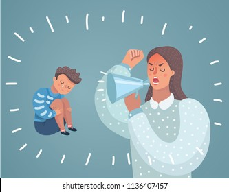 Vector cartoon illustration of Mother cry at boy with. Cute Boy crying and His Mom shot swearing in loudspeacker.