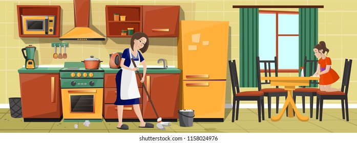 Vector cartoon illustration, mother and daughter cleaning kitchen, doing housework together. Housewife mopping floor, girl helping her and whipping dinner table. Happy family life concept background
