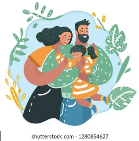 Vector cartoon illustration of Mother and father hugs daughter. Love of paretns. Human characters.
