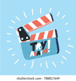 Vector cartoon illustration of movie clapper board isolated on blue background. Open clapperboard with hand drawn inscription lettering try again.