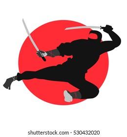 Vector cartoon illustration of a ninja superhero style.