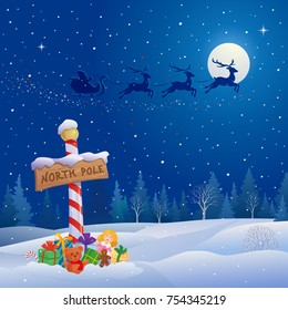 Vector cartoon illustration of a north pole sign and Santa Claus sleigh