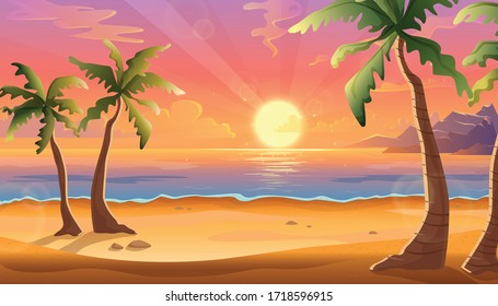 Vector cartoon illustration of ocean landscape in sunset or sunrise with beautiful pink sky and sun reflection over the water. Beautiful nature with palm trees and beach.
