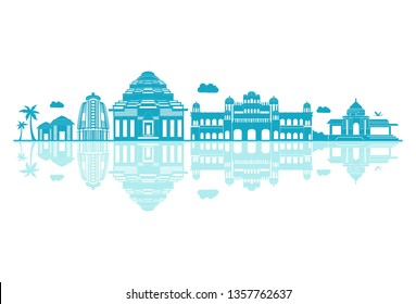 Vector cartoon illustration of odisha skyline. Isolated on white background.