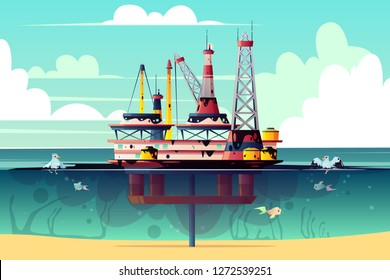 Vector cartoon illustration of oil rig in ocean, sea. Offshore derrick with pollution - environmental problem, contamination, ecological catastrophy. Energy concept, industrial.
