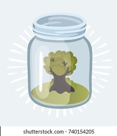 Vector cartoon illustration of old isolated tree plant growing in the glass jars. Garden eco system - ecology and enviroment concept. Objet on white background.