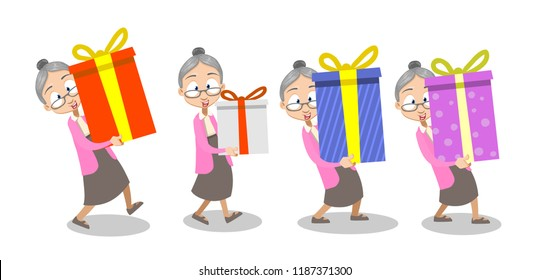 Vector cartoon illustration of old lady in pink sweater and gray skirt giving gifts. Making surprise and bring big wrapped gift box. Vector illustration in cartoon flat style