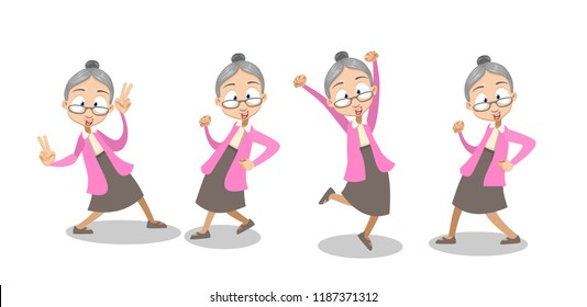 Vector cartoon illustration of old lady in pink sweater and gray skirt dancing.  Isolated on white background.Vector illustration in cartoon flat style, isolated on a white background.