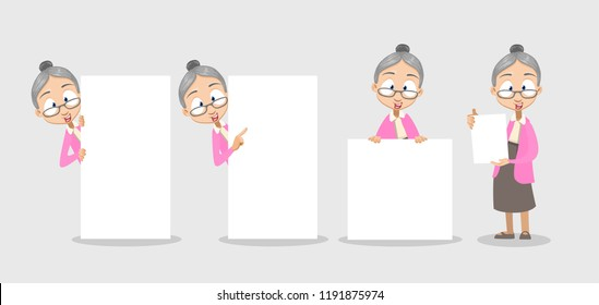 Vector cartoon illustration of old lady in pink sweater and gray skirt shows a sheet with the contract. Vector illustration in cartoon flat style, isolated on a white background.