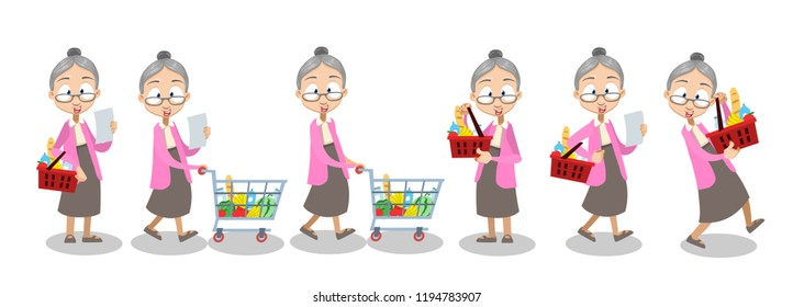 Vector cartoon illustration of old lady in pink sweater and gray skirt carrying a grocery cart full of groceries in the supermarket. Vector illustration in cartoon flat style