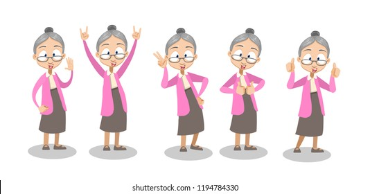Vector cartoon illustration of old lady in pink sweater and gray skirt gesturing, showing signs with hands. Happy granny character design.