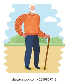 Vector cartoon illustration of old man with walking cane in the park