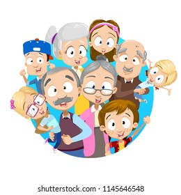 Vector cartoon illustration of older senior people together with grand children. Illustration on blue circle background