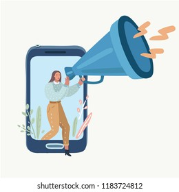 Vector cartoon illustration of online advertising concept, smm and online marketing. Woman with megaphone walking out of the screen and speaking to people on white background.