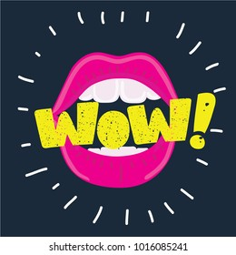 Vector cartoon illustration of Open mouth and WOW Message, promotional background, presentation poster. Flat design, vector illustration. Lettering with vintage texture on dark background.