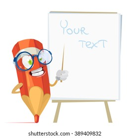 Vector cartoon illustration orange pencil mascot character in glasses standing near the information stand