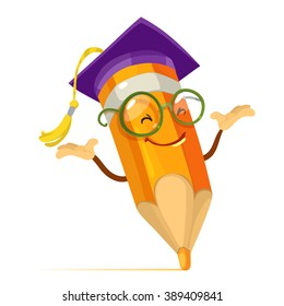 Vector cartoon illustration orange pencil mascot character with glasses and a hat of the graduate
