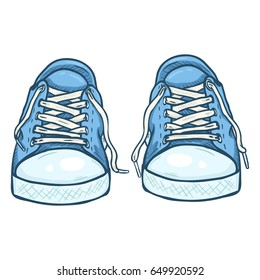 Vector Cartoon Illustration - Pair of Casual Blue Gumshoes. Front View.