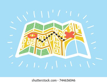 Vector cartoon illustration of paper maps in colorful modern style. Destination, route and start point