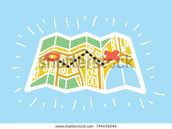 vector cartoon illustration paper maps colorful stock vector royalty free 744636046 https www shutterstock com image vector vector cartoon illustration paper maps colorful 744636046