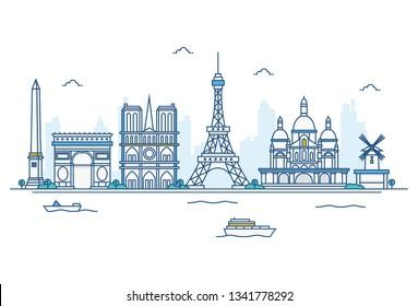 Vector cartoon illustration of Paris skyline. Isolated on white background.