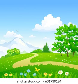 Vector cartoon illustration of a pathway in a green spring forest, square landscape