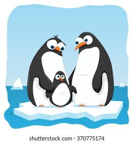 vector cartoon illustration of a penguin family