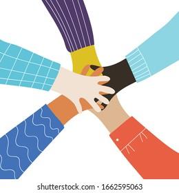 Vector cartoon illustration of people gathering hands