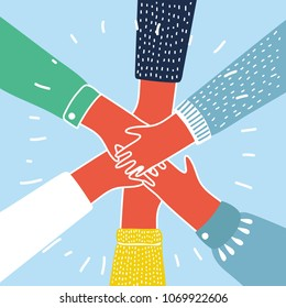 Vector cartoon illustration of people putting their hands together. Colorful concept