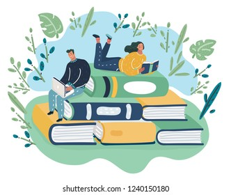 Vector cartoon illustration of People sitting and reading on a huge pile of books. Education and knowledge concept.