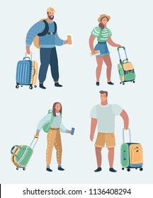 Vector cartoon illustration of people traveling set. Man and woman with luggige and traveler bags, pasport and boarding passes. Holiday or vacation trip. Human characters on white background.