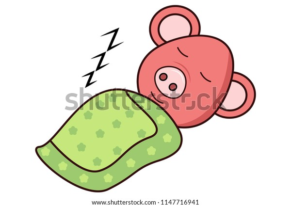 Vector cartoon illustration. Pig is sleeping with blanket. Isolated on white background.