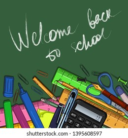 Vector Cartoon Illustration - Pile of Stationery and Text Welcome Backto School on Chalkboard Background