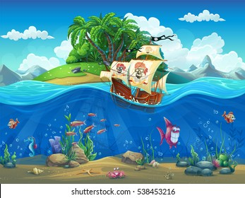 Vector cartoon illustration of a pirate ship on a background of a tropical island in the ocean among fish, molluscs, coral, crabs on the sandy bottom.