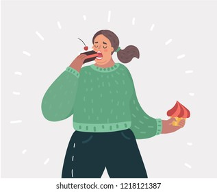 Vector cartoon illustration of plump woman with cake on her hands. A sweet tooth lady. Female character on white isolated background.