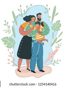 Vector cartoon illustration of Portrait of a young united family. Father keeps a small daughter in his arms. Woman gently embraces husband and daughter. Human characters on white.