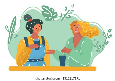 Vector cartoon illustration of Positive two young women communication with each other and laughing on funny stories during break in university. Cheerful friends having fun