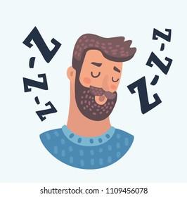 Vector cartoon illustration of Profile avatar icon of sleepy beard man face. Male character with sleepy eyes on white background.