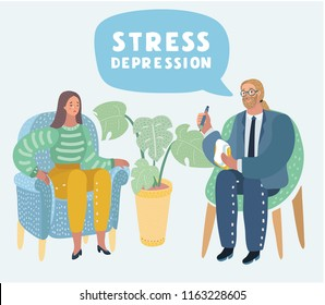 Vector cartoon illustration of Psychotherapy. Woman in depression and man psychologist with tangled and untangled brain metaphor, society psychiatry concept, society psychiatry concept.