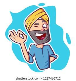 Vector cartoon illustration of Punjabi happy man. Isolated on white background.