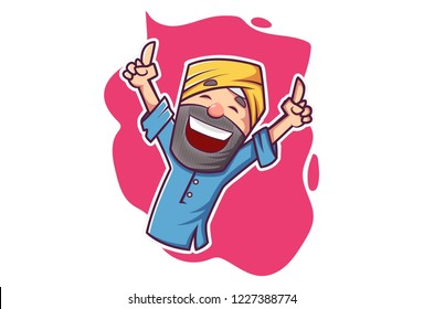 Vector cartoon illustration of Punjabi man dancing. Isolated on white background.