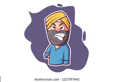 Vector cartoon illustration of Punjabi man angry expression. Isolated on white background.