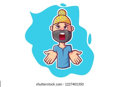 Vector cartoon illustration. Punjabi man is showing his hand. Isolated on white background.