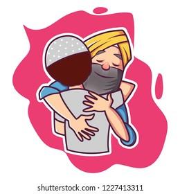 Vector cartoon illustration . Punjabi man is hug to another man. Isolated on white background.