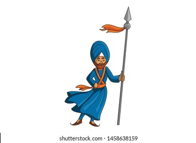 Vector cartoon illustration of Punjabi nihang sardar holding spear in hand. Isolated on white background.