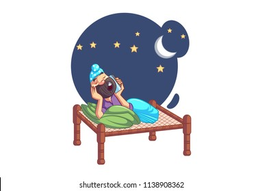 Vector cartoon illustration of Punjabi sardar is relaxing on bed in night and talking on phone. Isolated on white background.