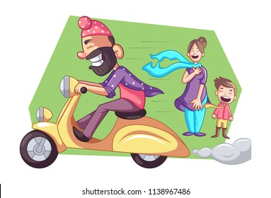 Vector cartoon illustration of Punjabi sardar is driving fast scooter.  Woman with child standing on road  and his scarf is flying in wind. Isolated on white background.