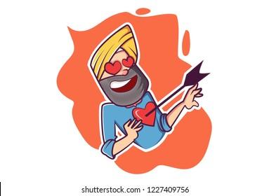 Vector cartoon illustration. Punjabi sardar in love struck. Isolated on white background.